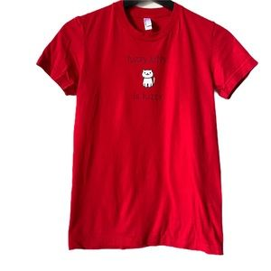 AMERICAN APPAREL Graphic Fitted Tee Red Small